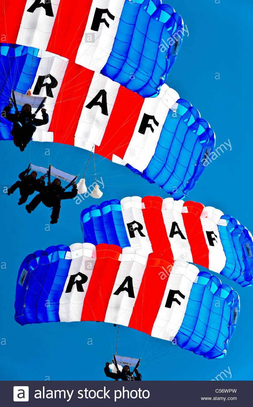 RAF Falcons parachute display team, National Air show, Swansea, Wales, UK. - Stock Image