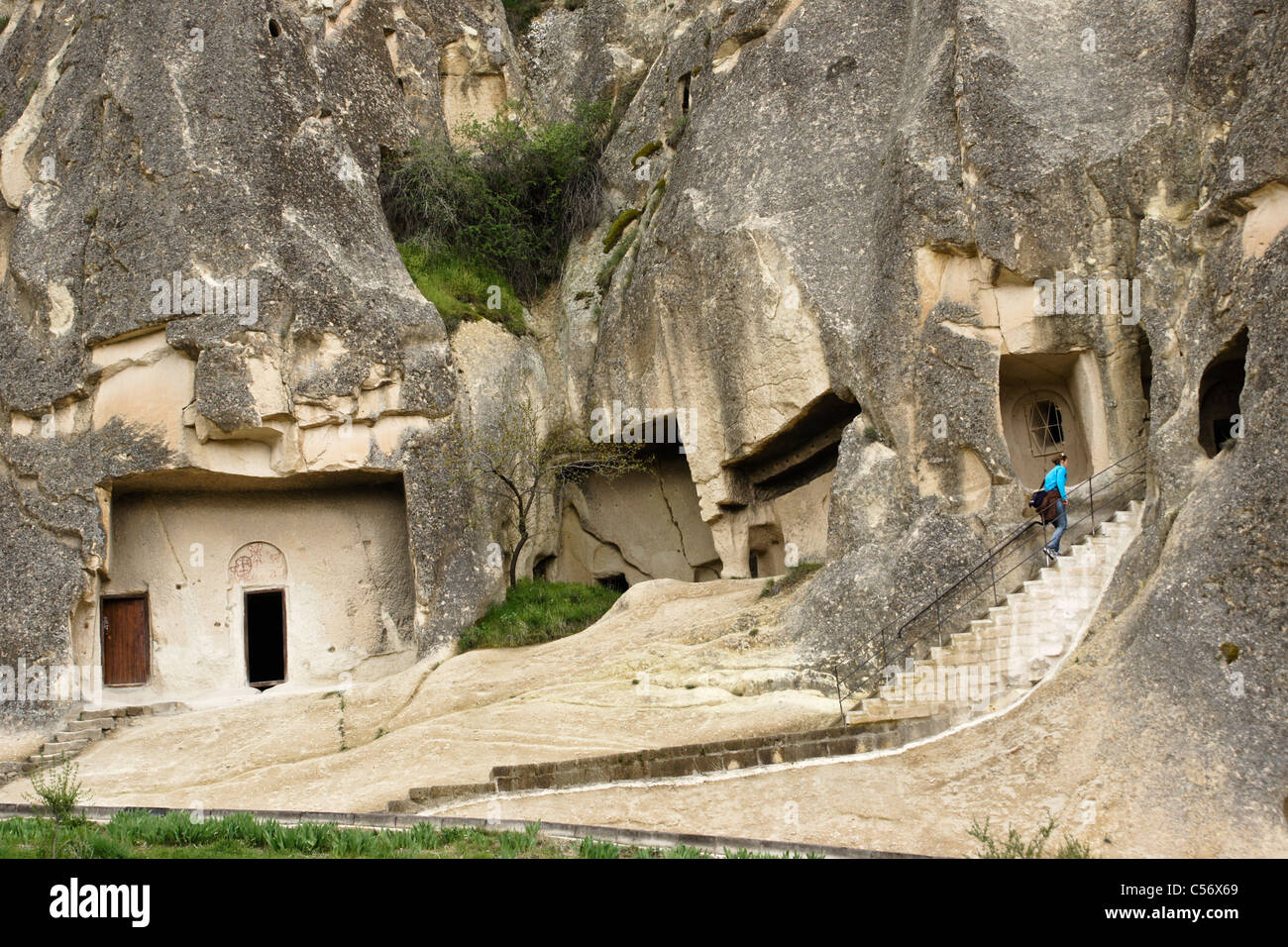 Rock-hewn churches at Goreme Open-Air Museum, Cappadocia, Turkey - Stock Image
