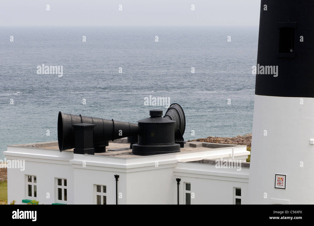 The now defunct fog horn at the  Alderney Lighthouse, Mannez Lighthouse. Alderney, Channel Islands. - Stock Image