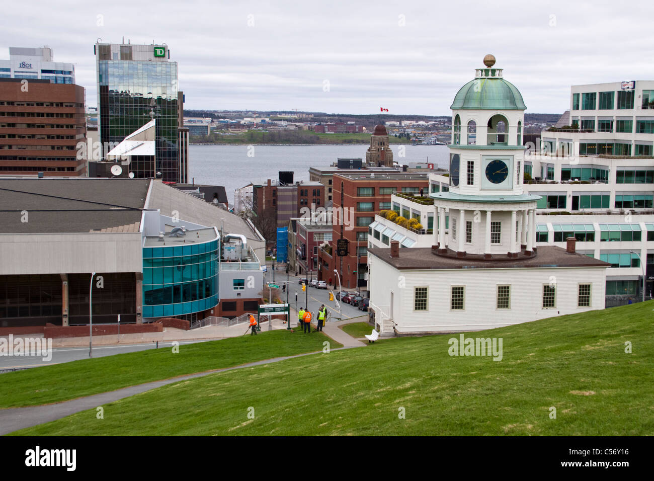 Citadel Clock Tower or Old Town Clock at Halifax harbour and downtown, Nova Scotia, Canada. - Stock Image