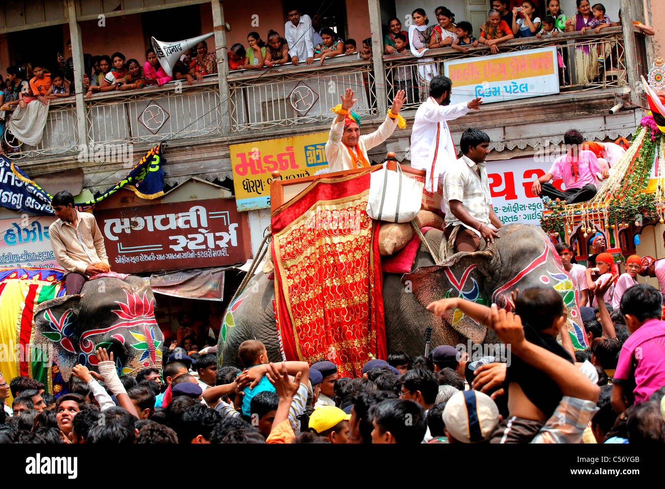 Rath yatra procession in Ahmedabad, Gujarat,india - Stock Image