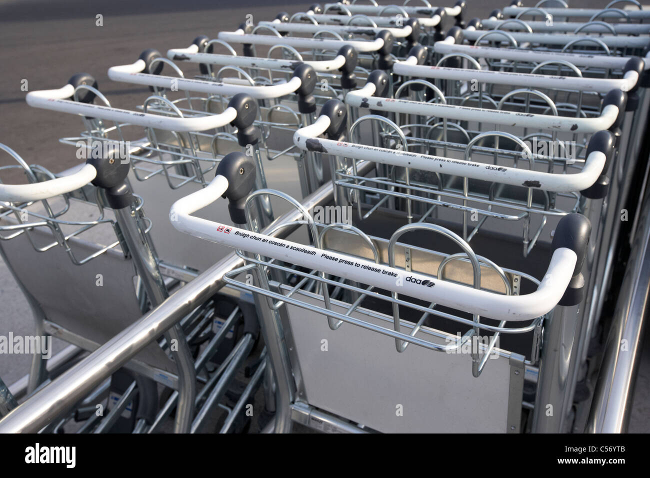 airport baggage luggage trolleys dublin airport republic of ireland europe - Stock Image