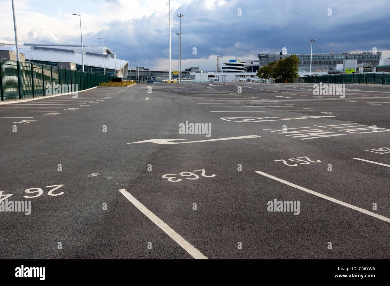 empty car park parking lot at dublin airport republic of ireland europe - Stock Image