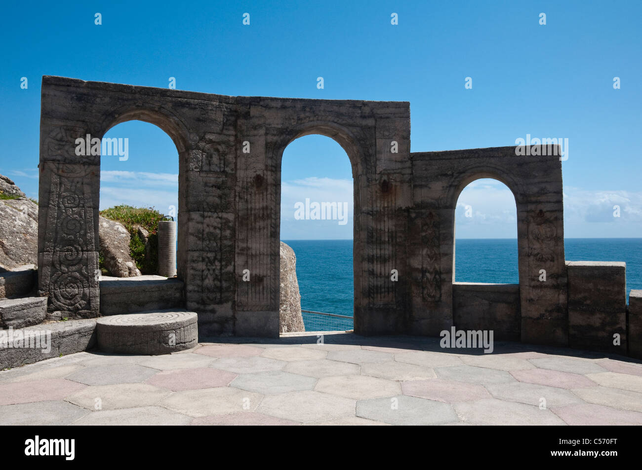 The Minack Theatre, open-air theatre stage - stone arches used as ...