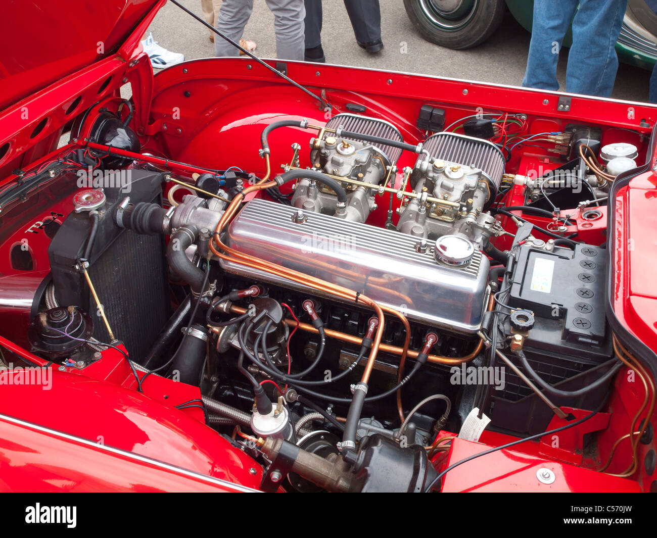 Under The Bonnet Engine Of A Classic Triumph Tr4 Sports Car Stock