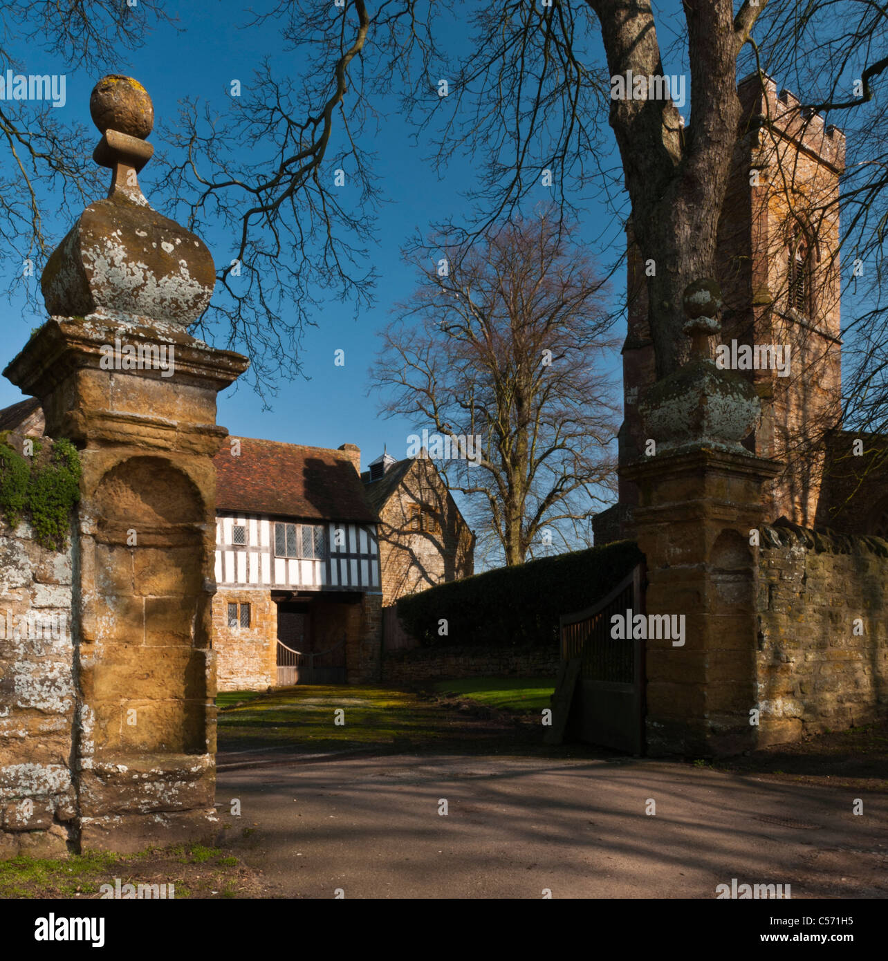 Entrance and Gatehouse to Ashby St Ledgers Manor in Northamptonshire where the Gunpowder Plot was hatched in 1605, - Stock Image