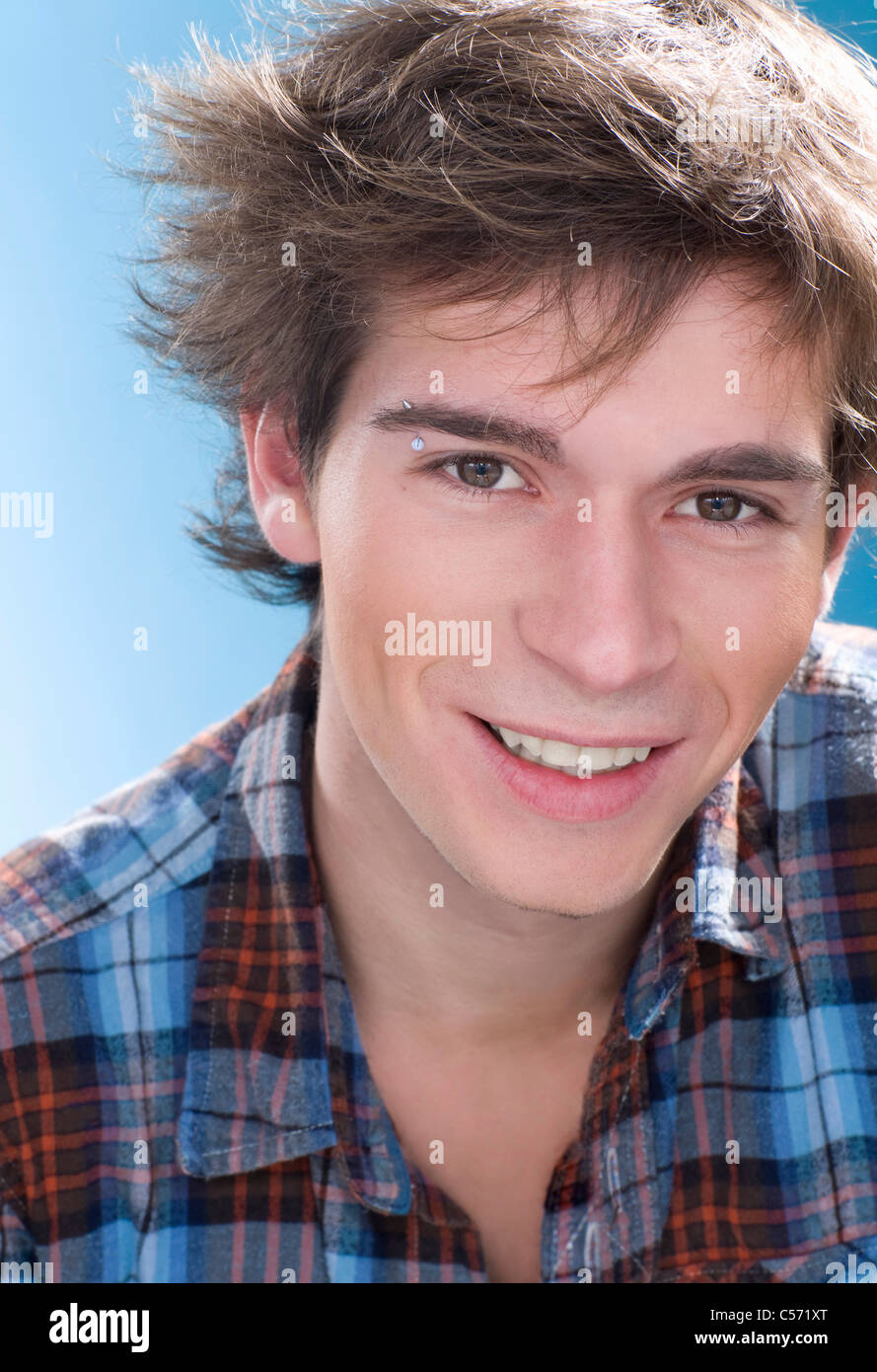 Boy Wearing Eyebrow Piercing Stock Photo 37649216 Alamy