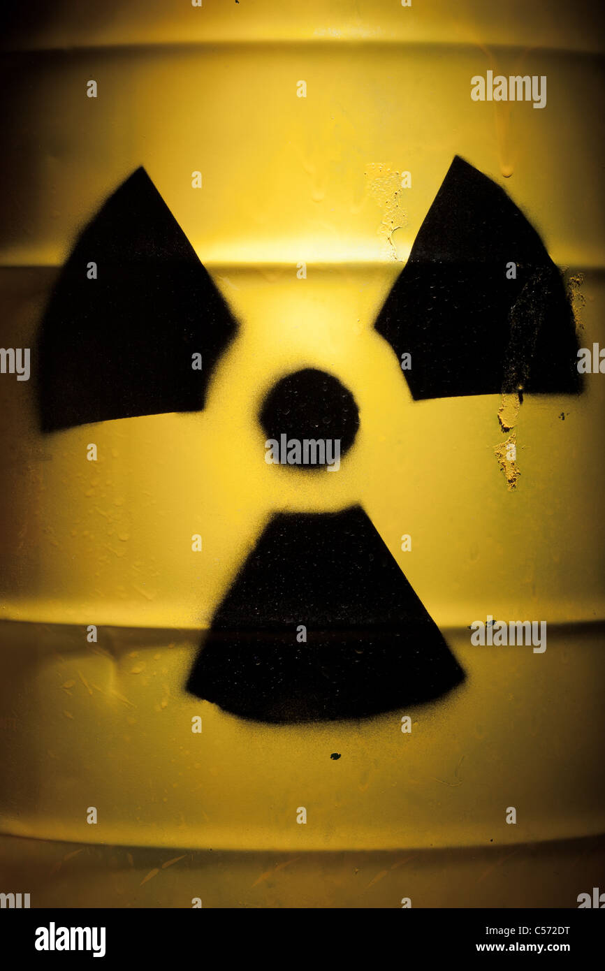 Radioactive Barrel with Nuclear Sign - Stock Image