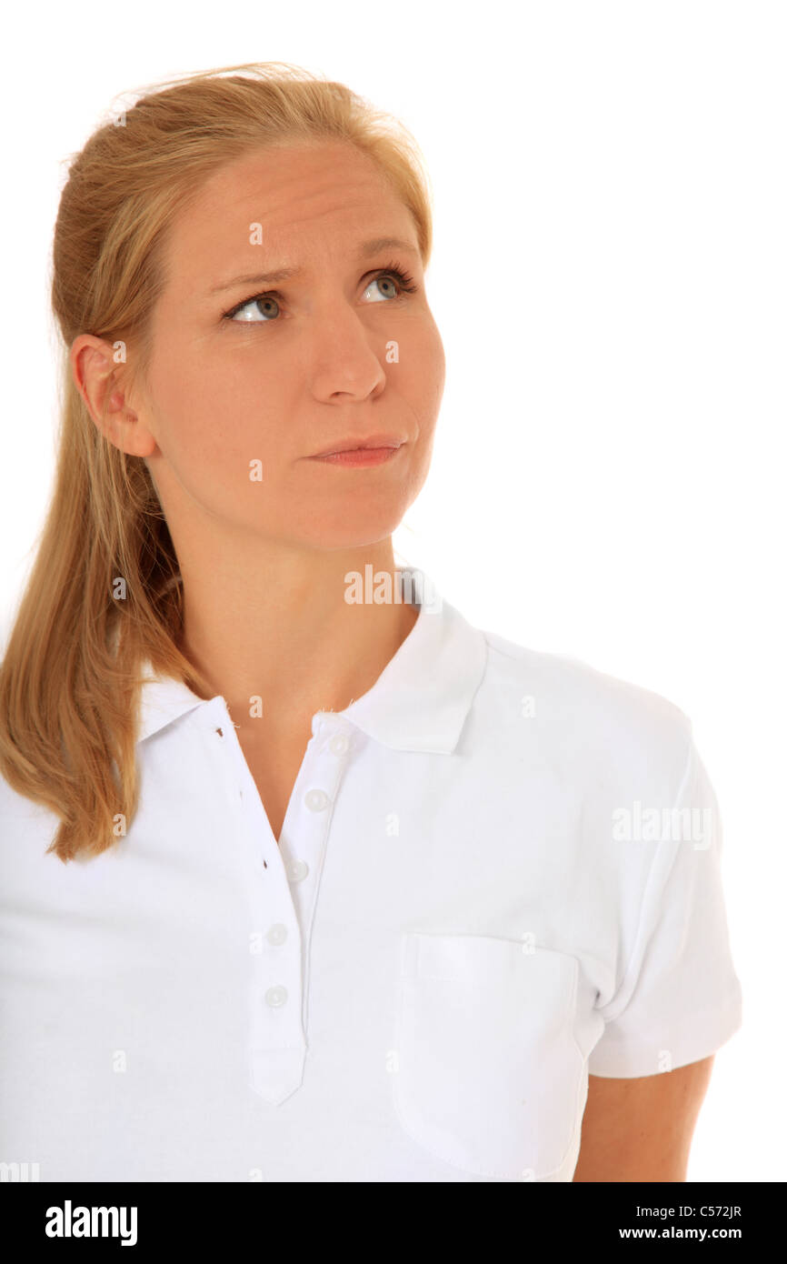 Woman looking to the side. All on white background. - Stock Image