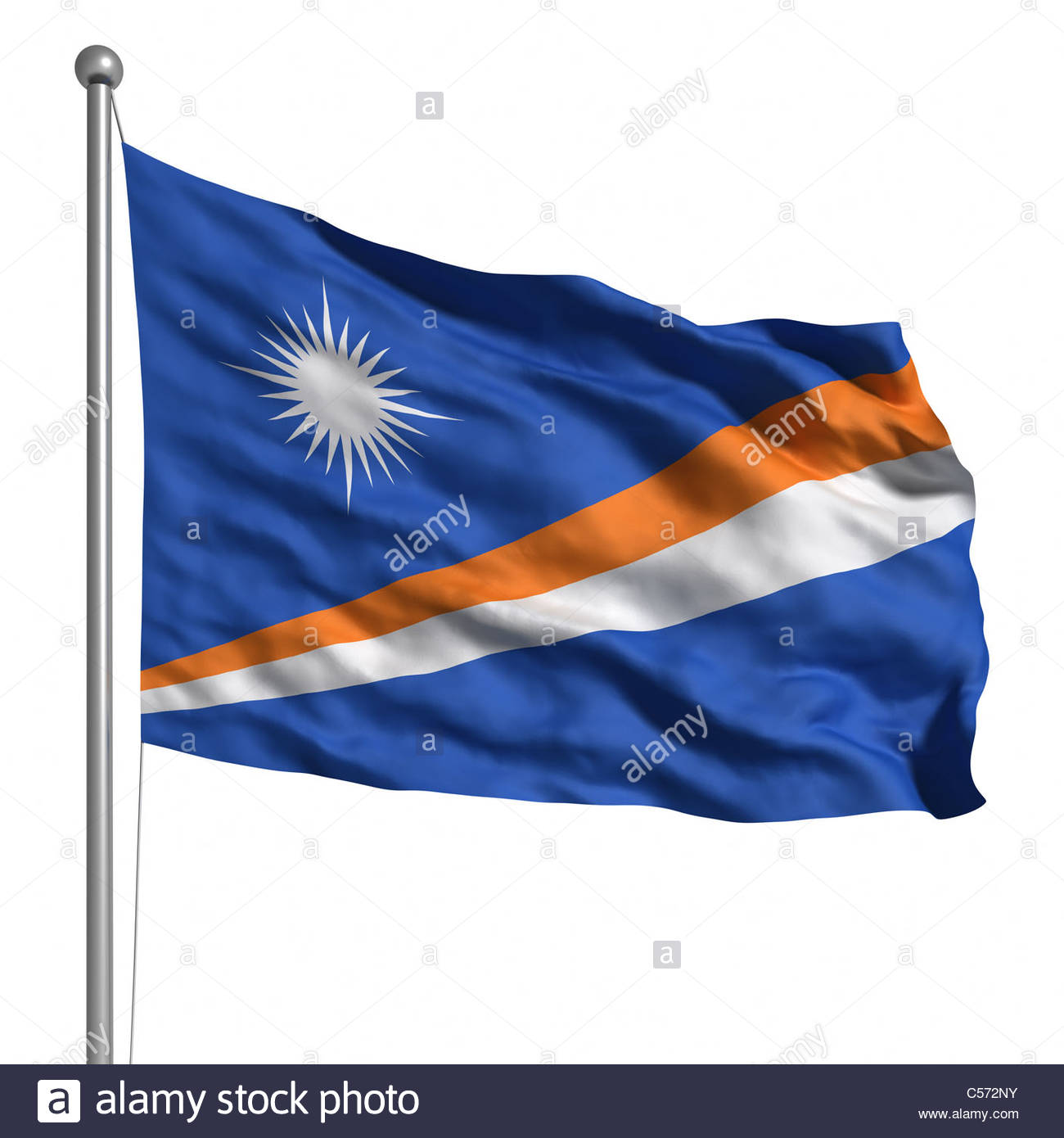 Flag of the Marshall Islands. Rendered with fabric texture (visible at 100%). Clipping path included. - Stock Image