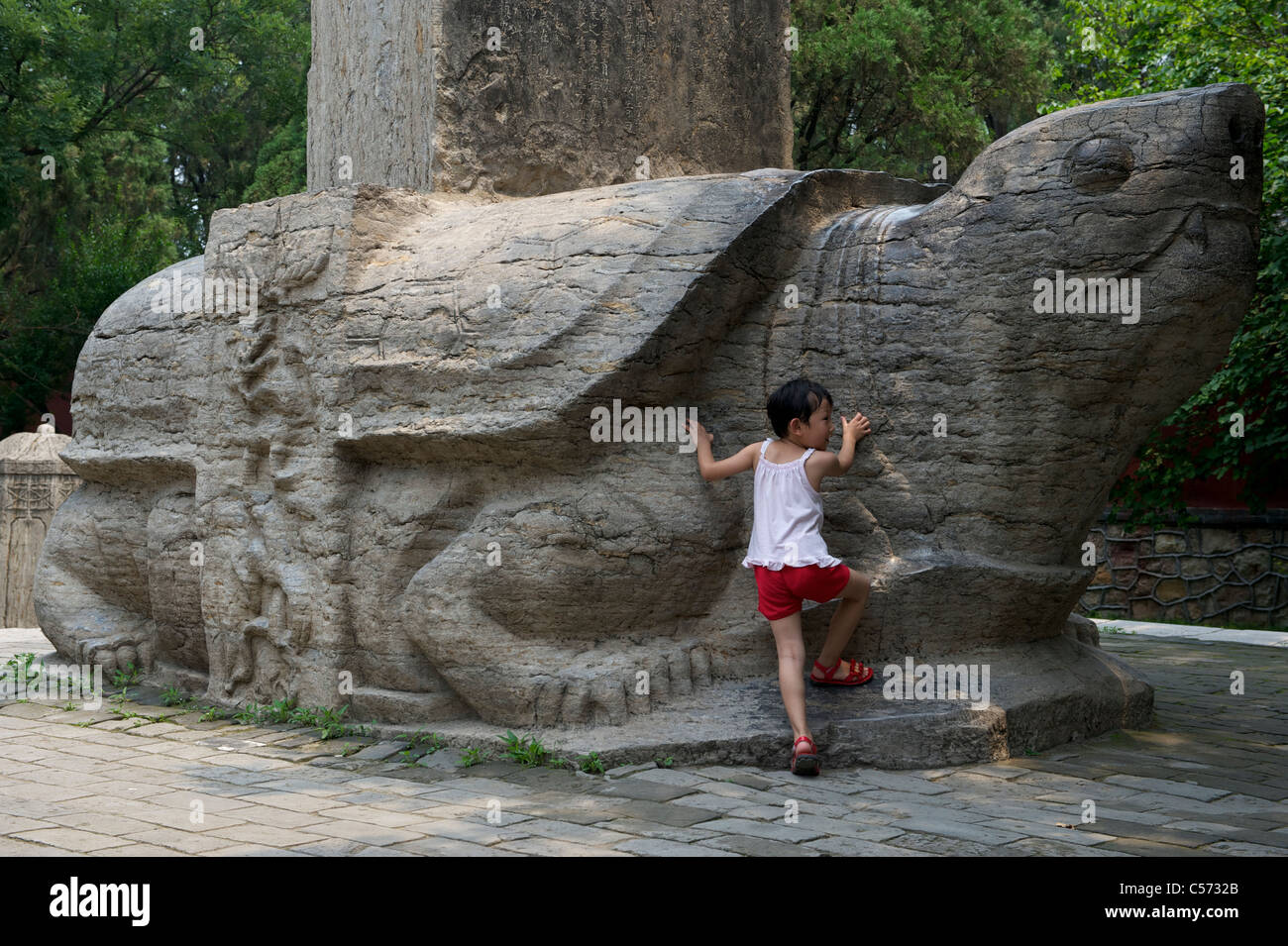 Chinese girl stands by Bixi(stone tortoise) carrying tablets at Dai Temple in Taishan Mountain, Shandong, China. Stock Photo