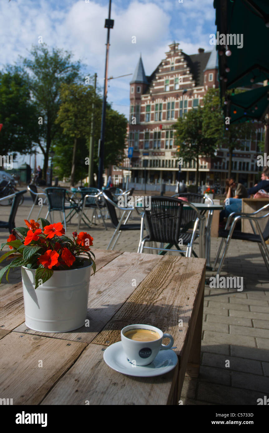 Cup of coffee Schiedamseweg street Delfshaven district Rotterdam the province of South Holland the Netherlands Europe Stock Photo