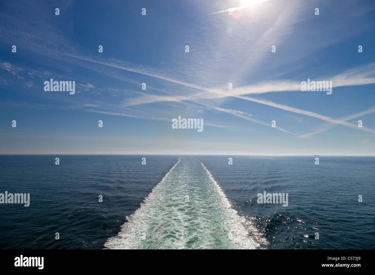 Wake of the cruise liner Azura, Baltic Sea - Stock Image