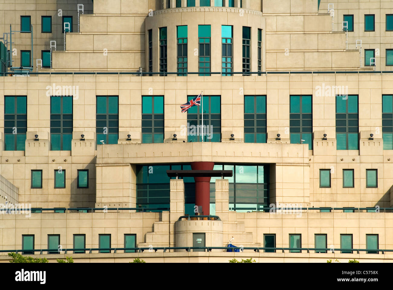 MI6 Building south side of the river Thames London Uk  - Stock Image