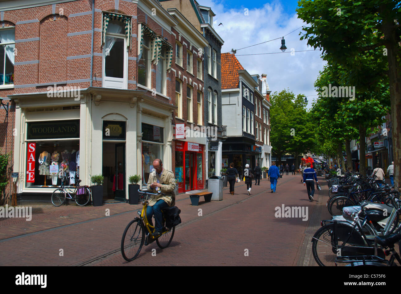 Man riding bike without hands while using mobile phone Grote Houtstraat street Haarlem town the Netherlands Europe - Stock Image