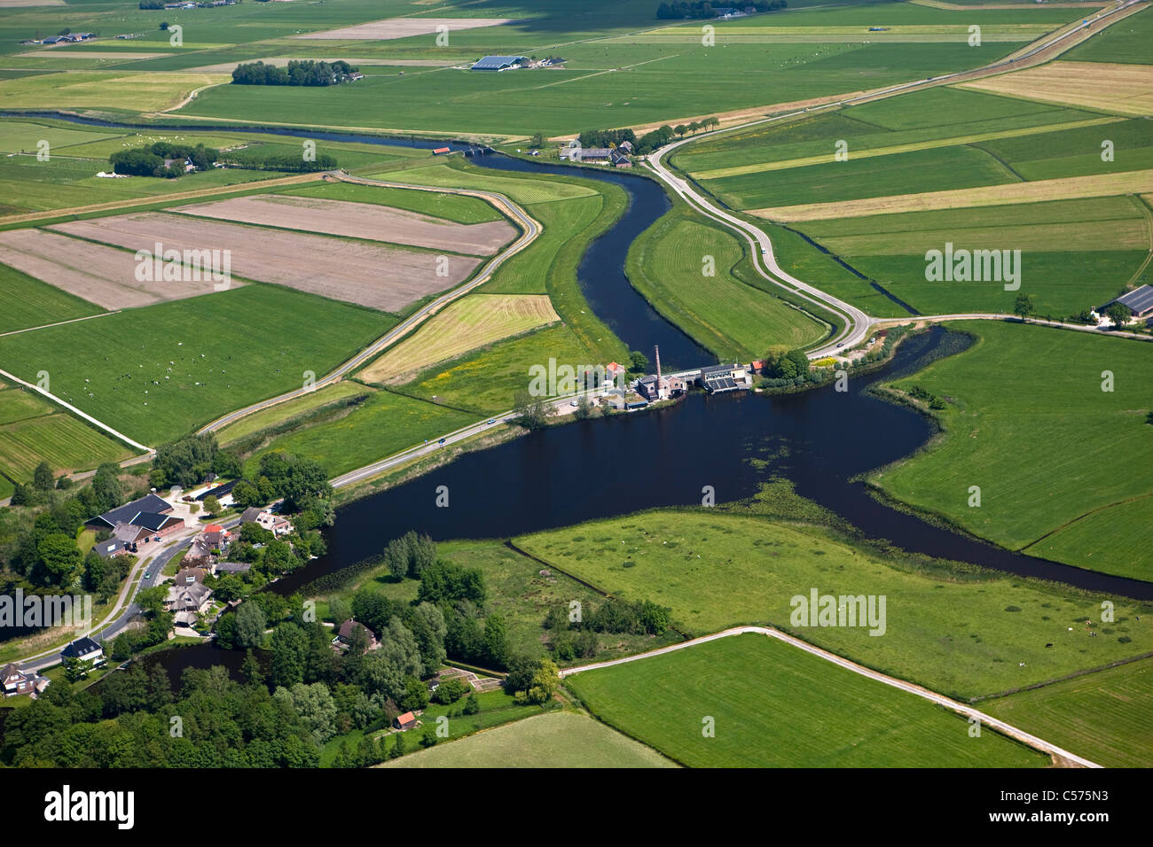 The Netherlands, Genemuiden, Monumental steam driven pumping-station, called Mastenbroek. Constructed 1856. Aerial. - Stock Image