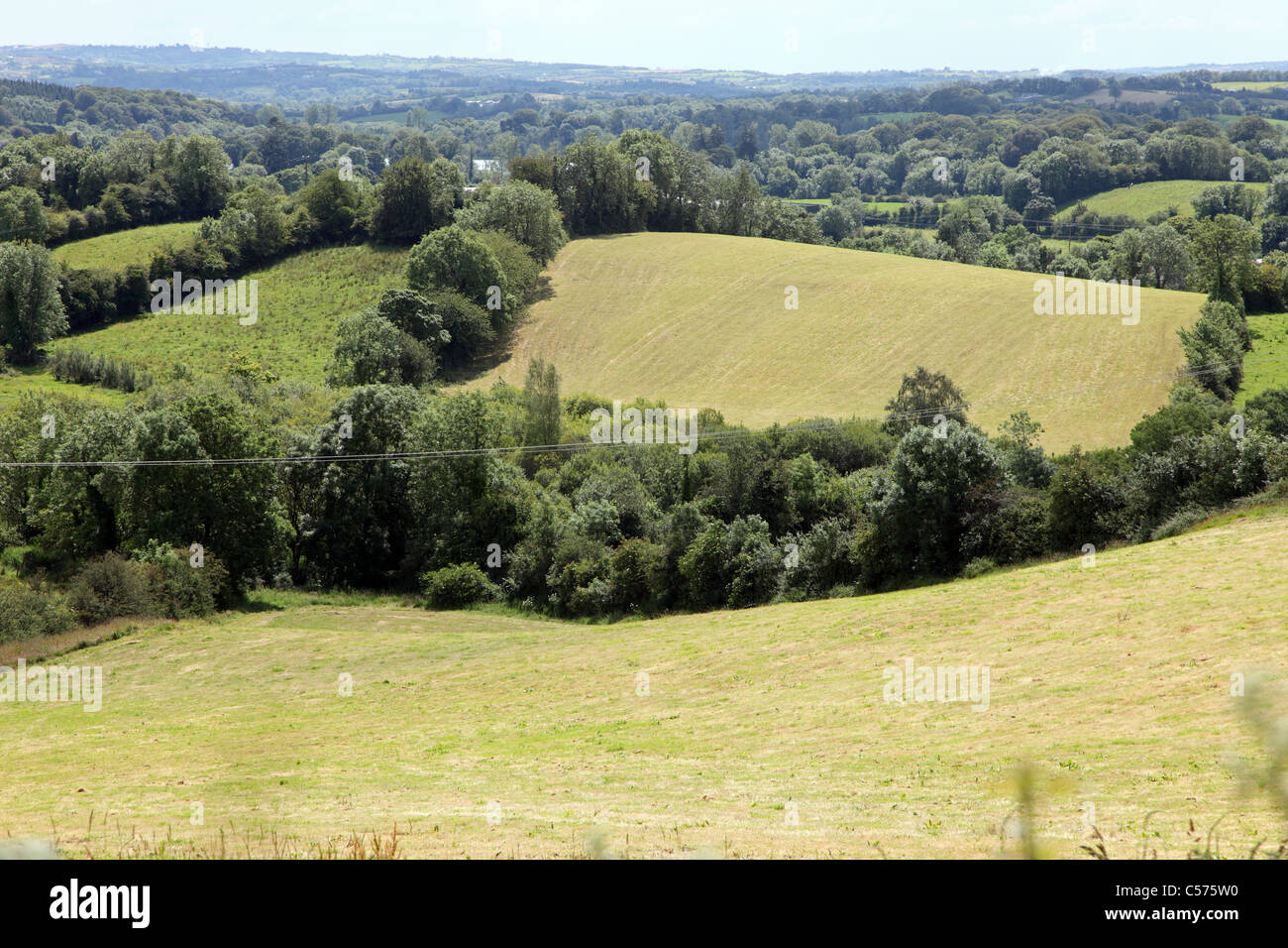 Co Monaghan farmland after the hay has been cut - Stock Image