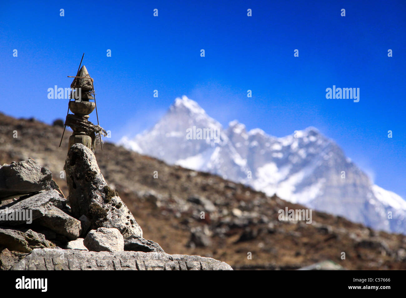 Buddhist Temple and Praying wheels, Everest Base Camp trail, Nepal, Religious decorations, deities, artifacts, gods, - Stock Image