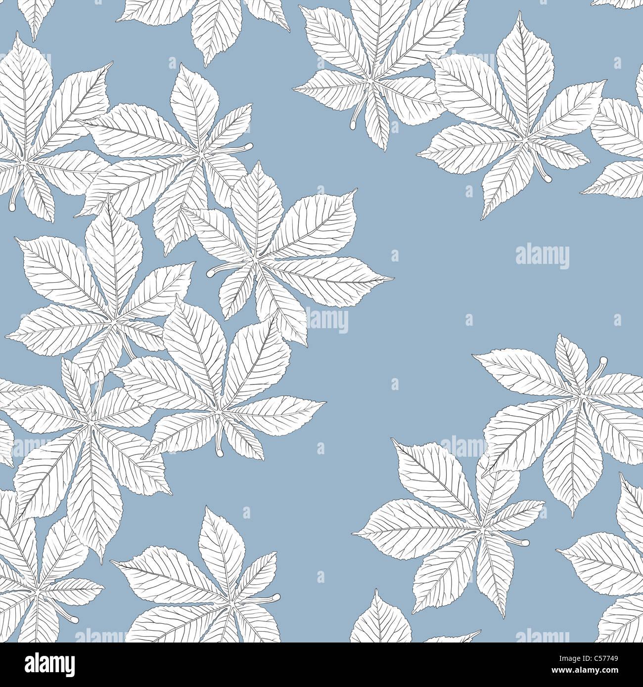 Chestnut leaves. Seamless pattern. Vector, eps8, easy editable. - Stock Image