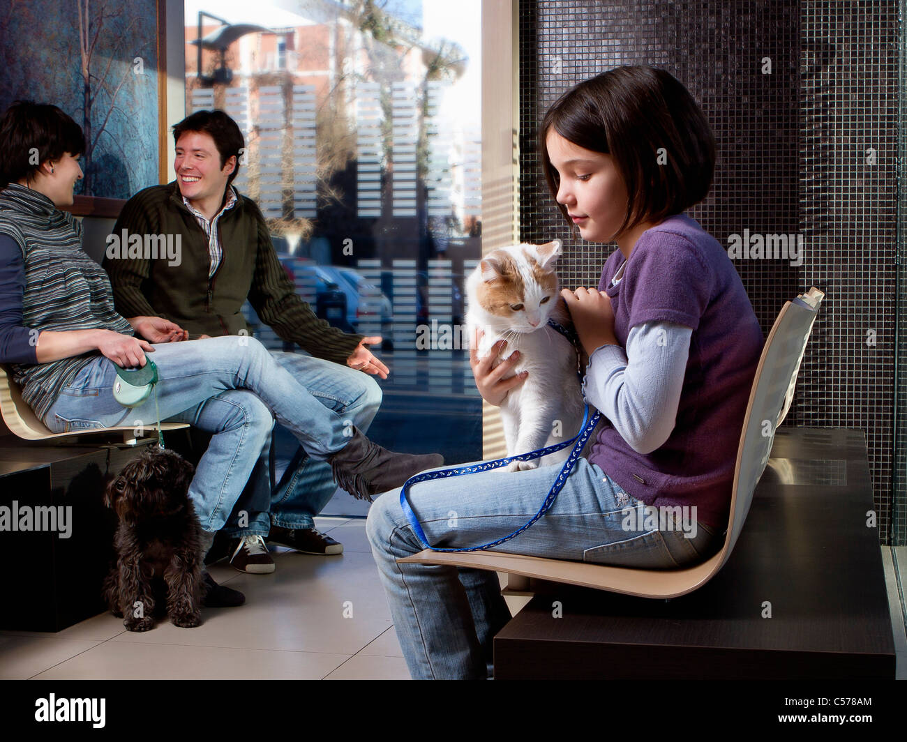 Girl with her cat in vet waiting room - Stock Image
