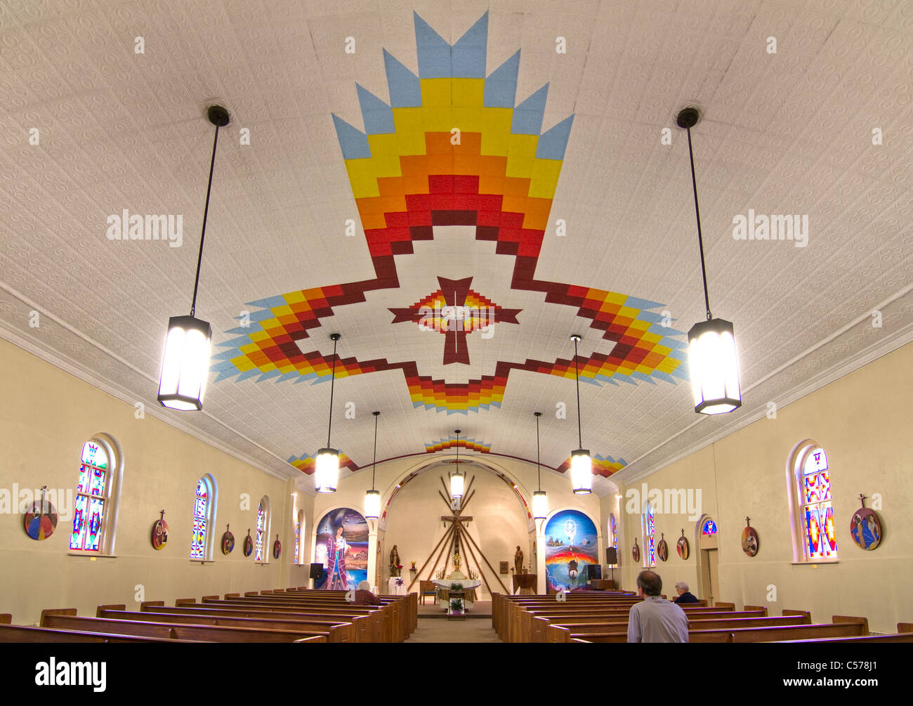 St Stephen's catholic church in Ethete, on the Wind River Indian Reservation, home to Arapaho and Eastern Shoshone - Stock Image