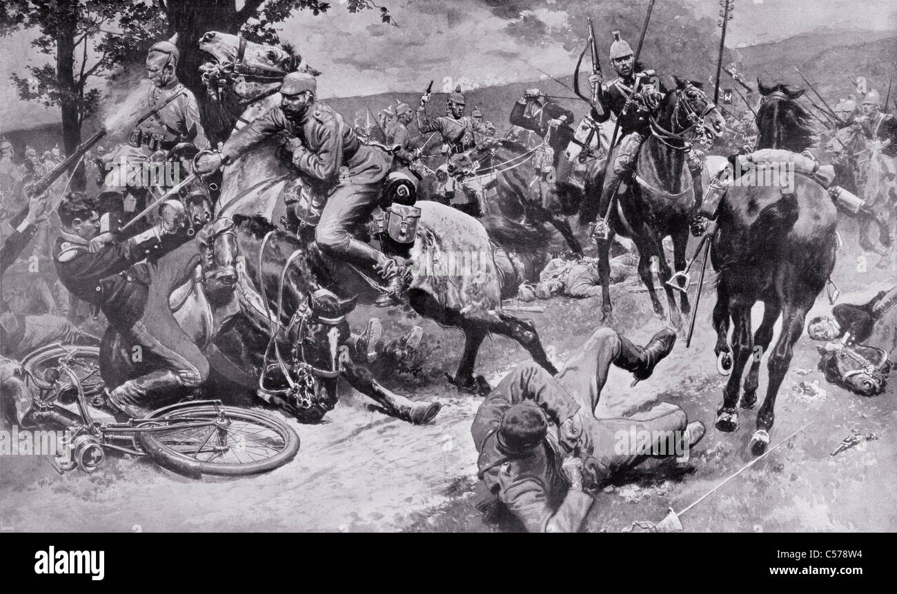 Combat between mounted cavalry forces of the Germans and French during the First World War. - Stock Image