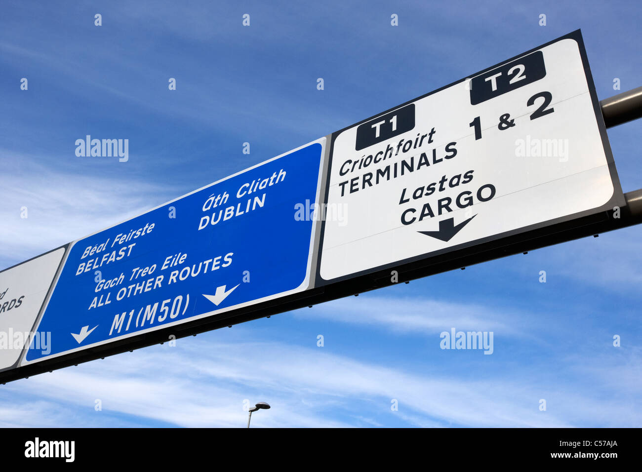roadsign for terminals and motorways at dublin airport republic of ireland europe - Stock Image