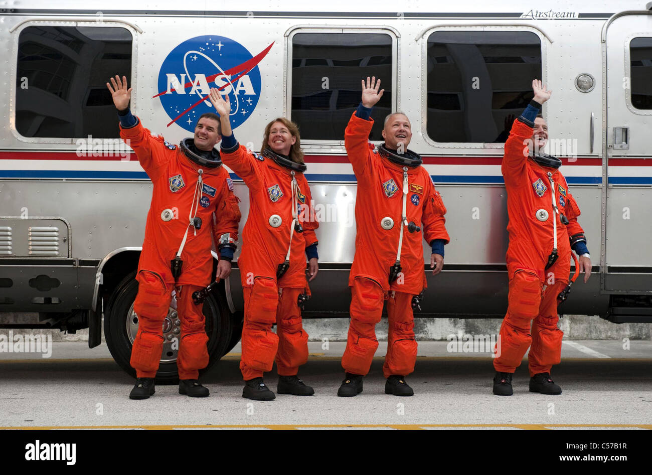 Space shuttle Atlantis crew, final mission STS135 - Stock Image