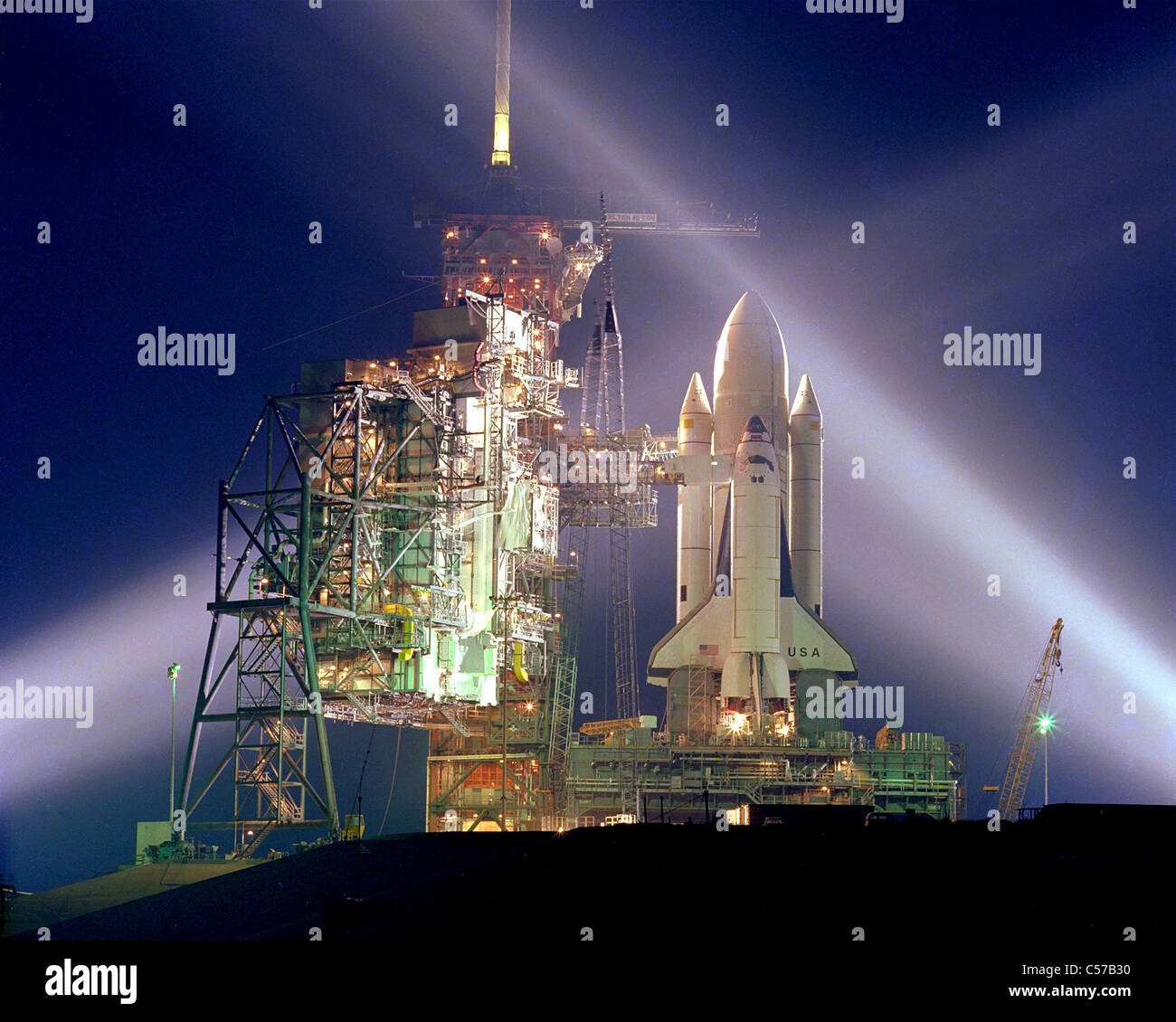 Space Shuttle Columbia on Launch Pad 39A before its maiden flight, STS-1. - Stock Image