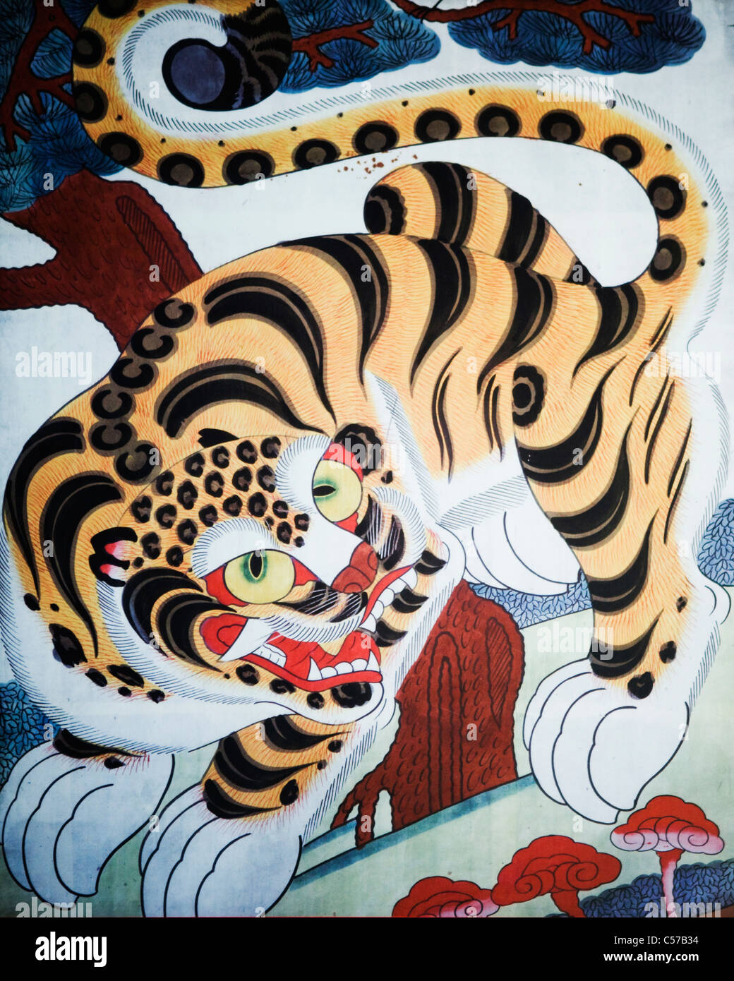 Minhwa Korean Folk Painting Showing The Tiger Symbol Of Courage