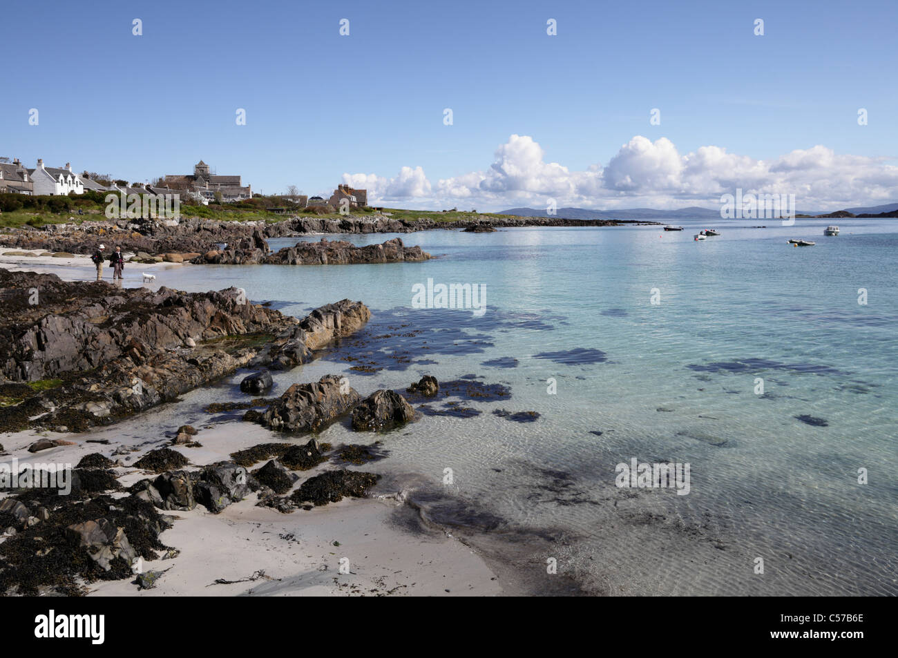 The island of Iona with the abbey - Stock Image