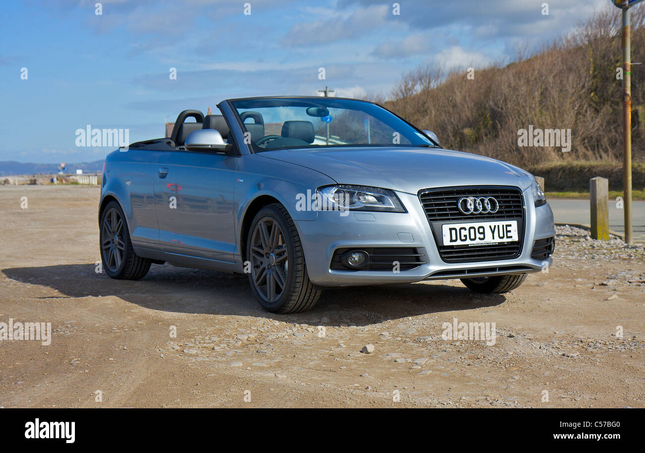 Audi A3 Cabriolet S Line Black Edition On Beach With Blue
