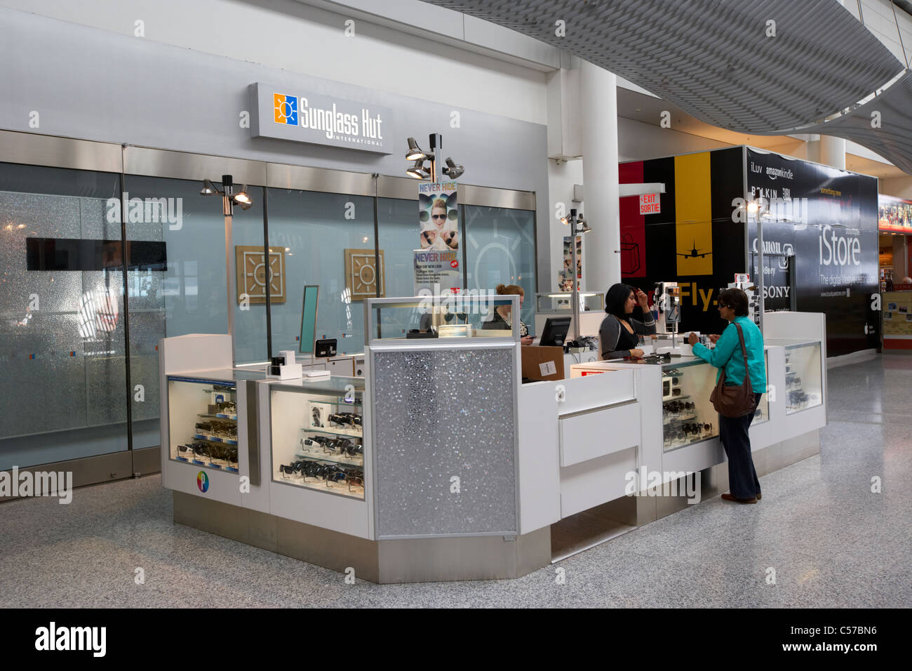sunglass hut concession store in departure lounge of terminal 1 Toronto Pearson International Airport Ontario Canada - Stock Image