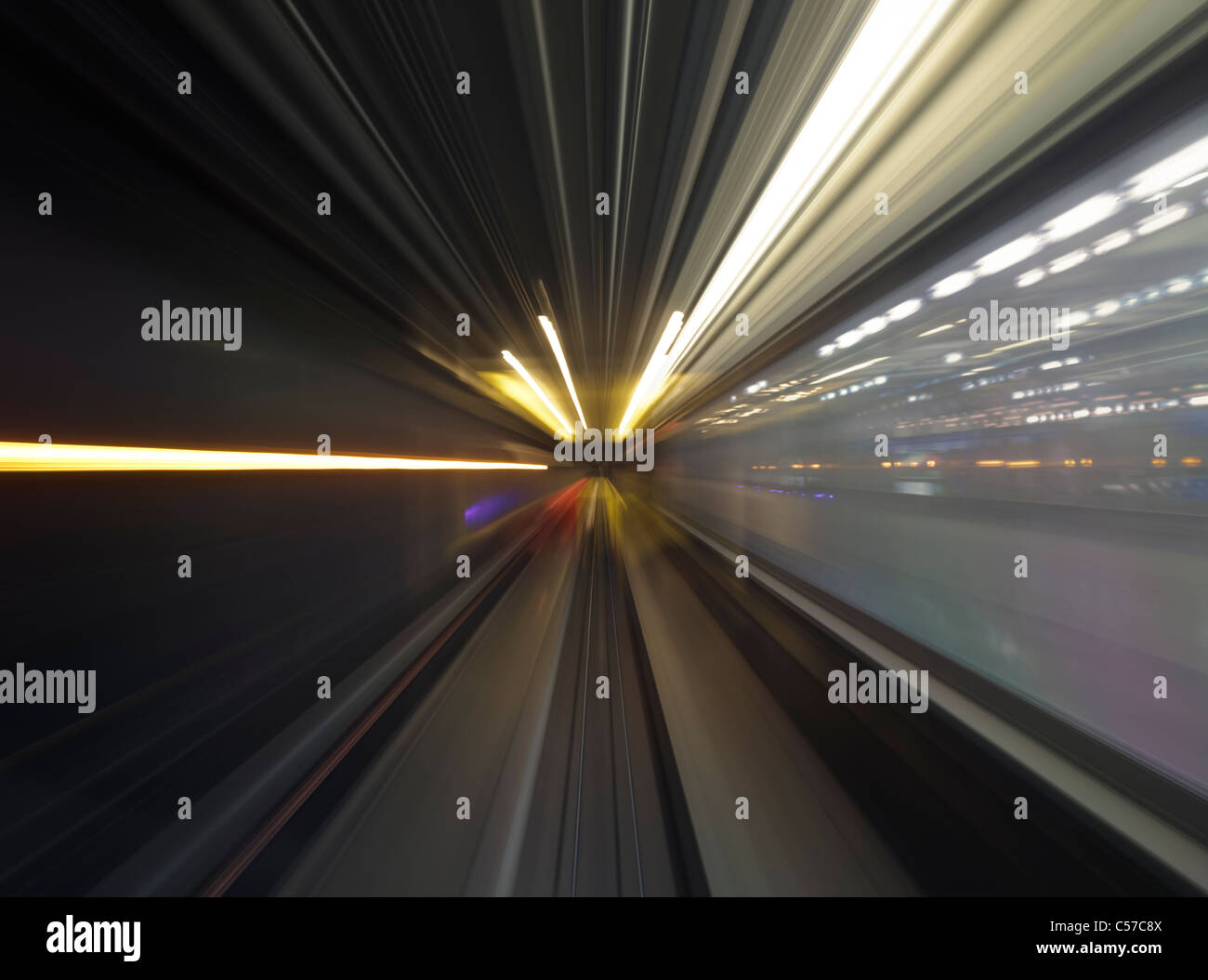 Long exposure of subway train ride - Stock Image