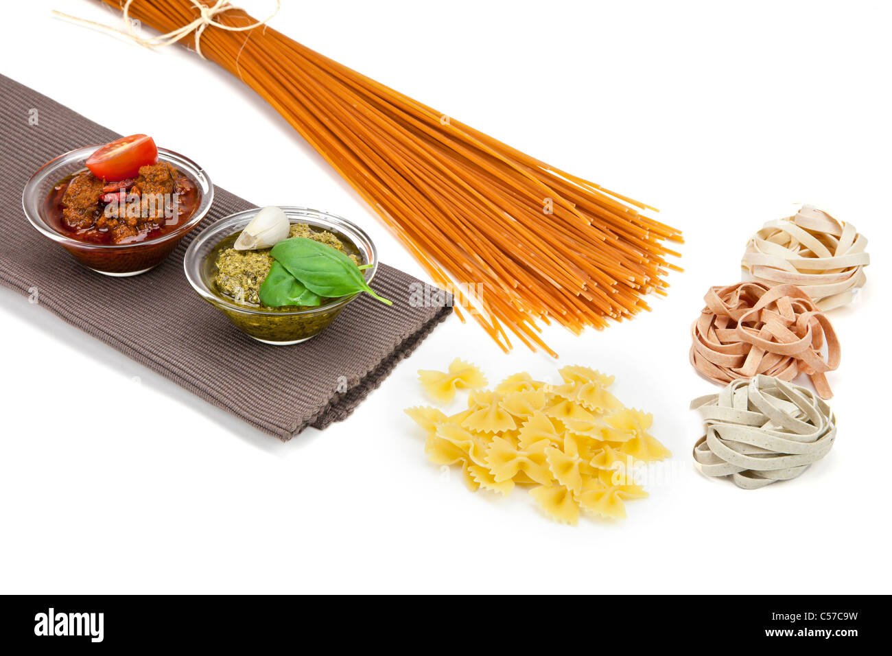 different kinds of pasta with pesto two different varieties - Stock Image