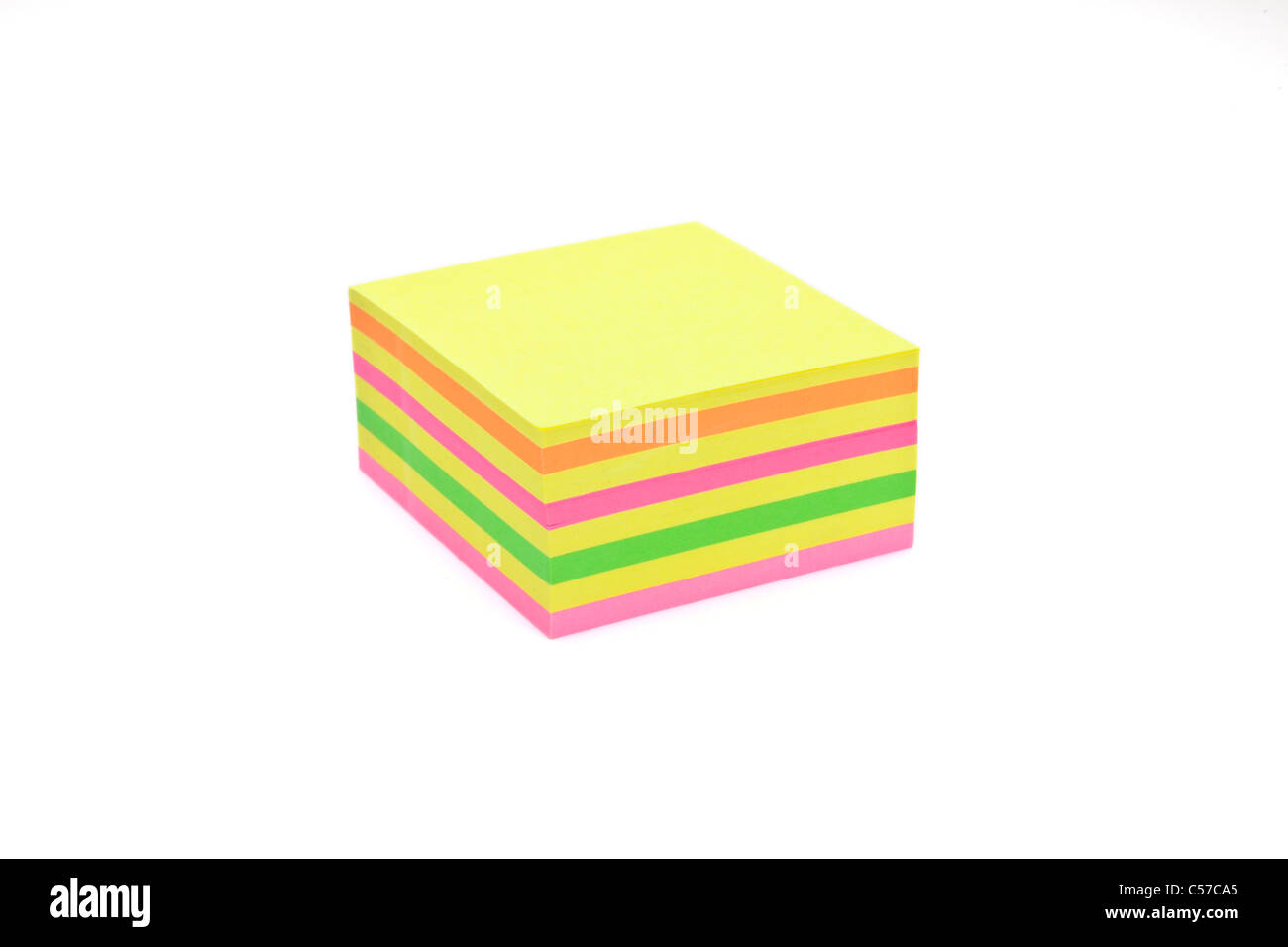 a square notepad in different colors - Stock Image