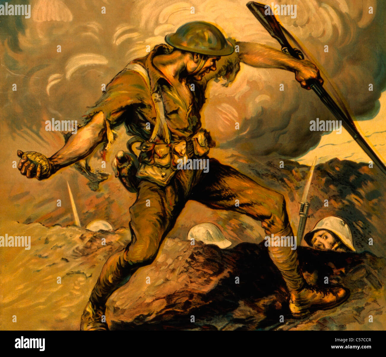 World War I Battle Scene showing American soldier holding hand grenade over German soldiers in trench - Stock Image