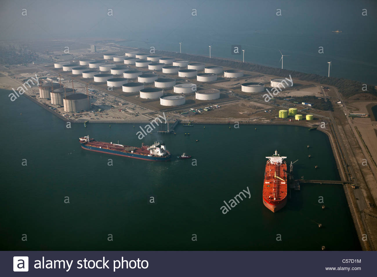 The Netherlands,  Rotterdam, Port. Oil storage by sea. Aerial. - Stock Image