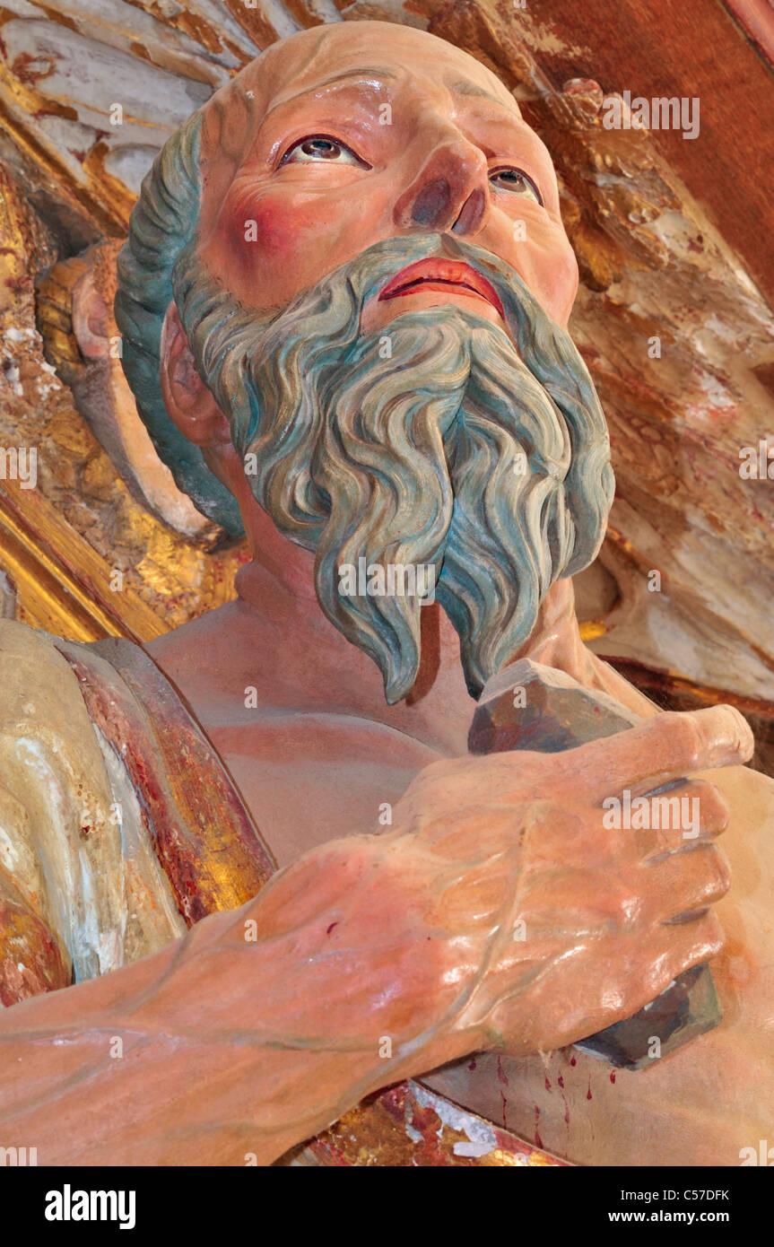 Spain, St. James Way: Detail of the altar of Saint Jerome in the monastery church of San Juan de Ortega - Stock Image