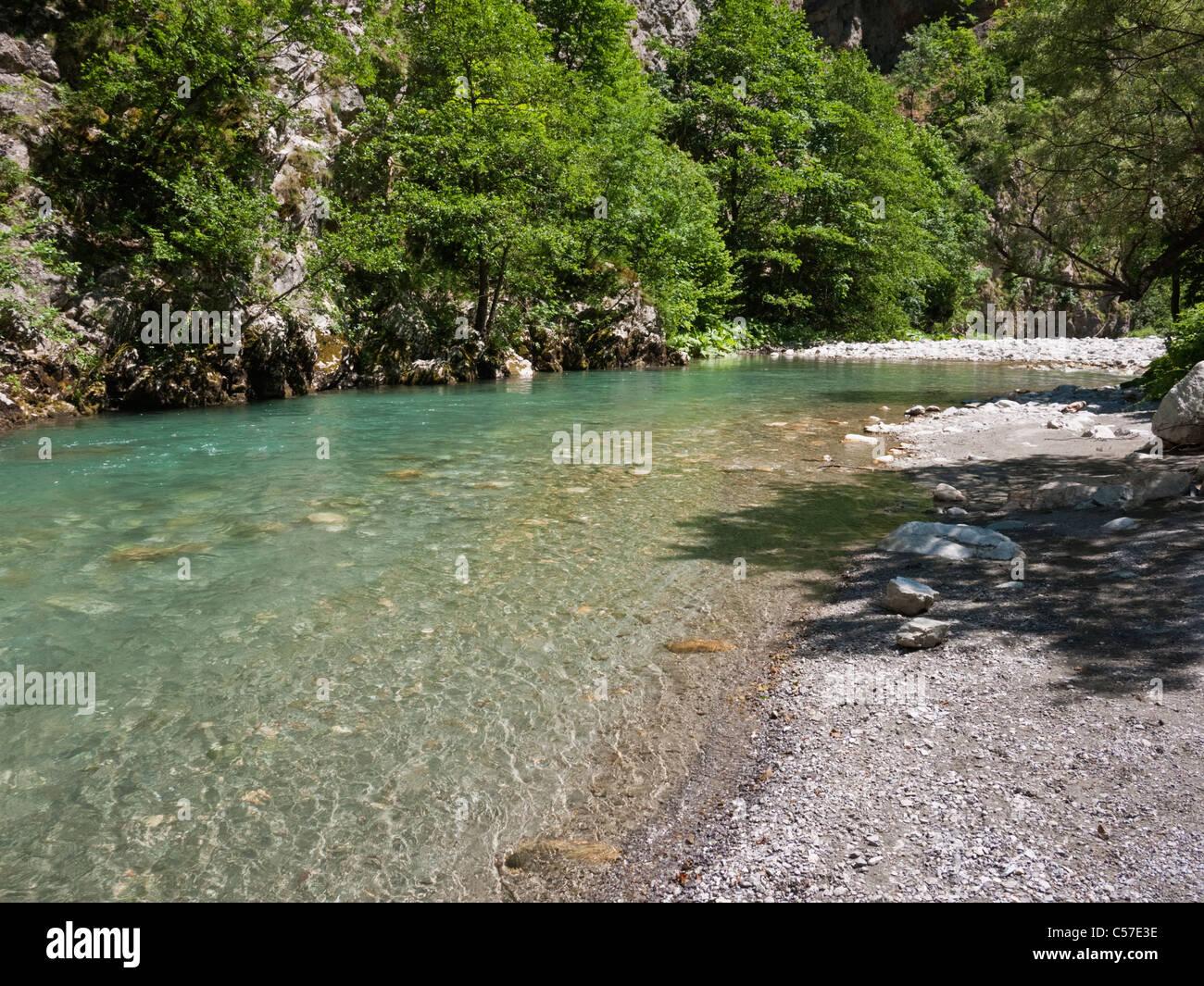 The river Radika flowing through the Radika gorge in Mavrovo National Park, Macedonia - Stock Image
