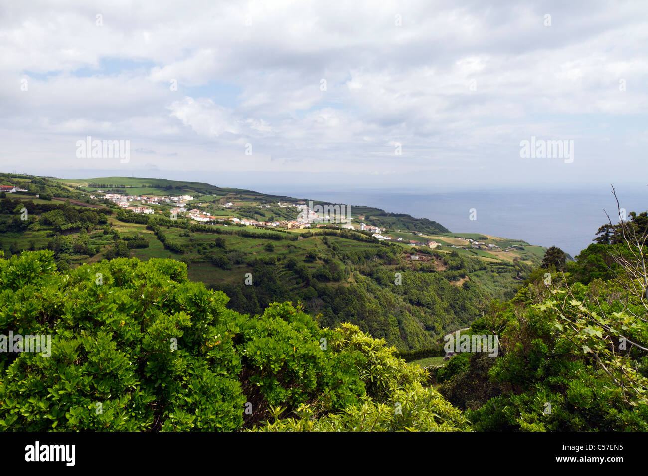 View from the Sossego viewpoint, São Miguel island, Azores, Portugal - Stock Image