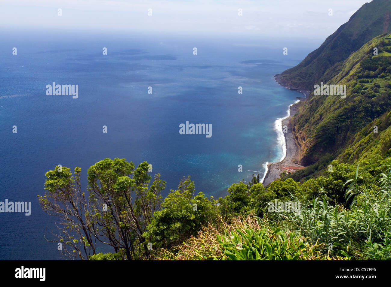 Stunnnig view from the Sossego viewpoint, São Miguel island, Azores, Portugal - Stock Image