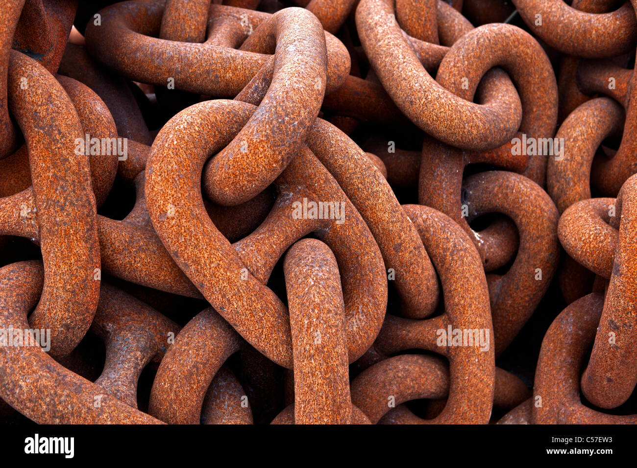 The Netherlands, Rotterdam, Port, Anchor chain of ship. - Stock Image