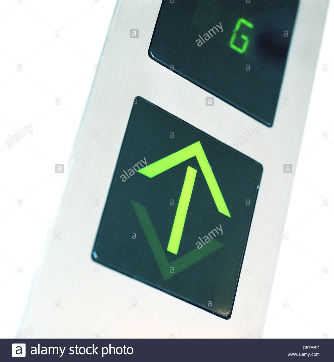 Close up of elevator arrow display - Stock Image