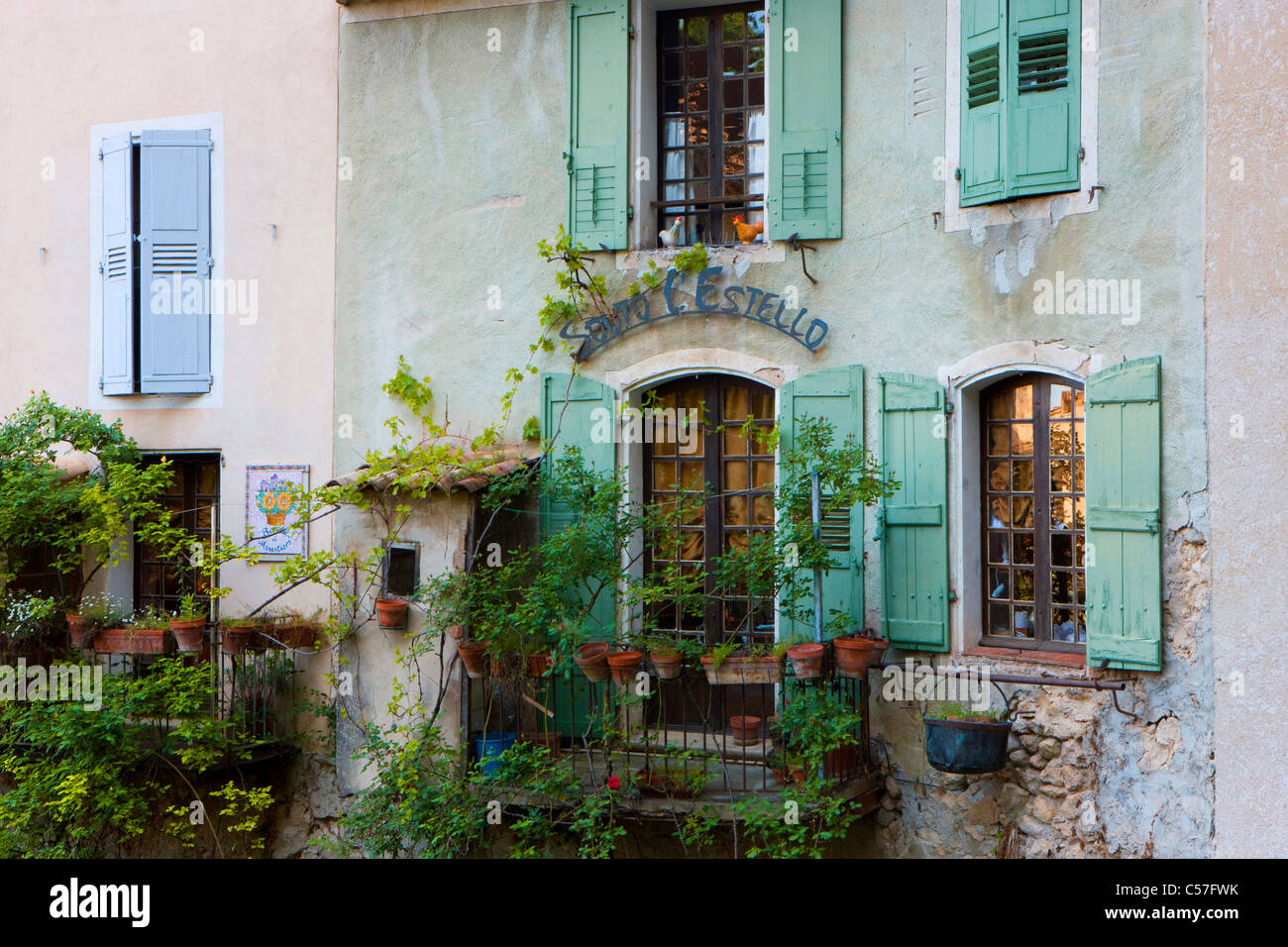 Moustiers-Sainte-Marie, France, Europe, Provence, Alpes-de-Haute-Provence, village, house, home, window, balcony Stock Photo