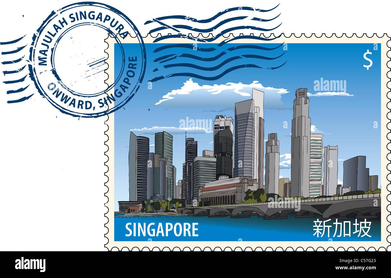 Postmark with Singapore cityscape - Stock Image