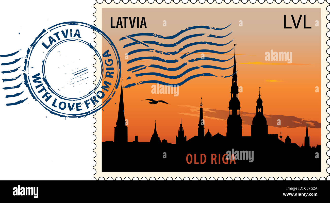 Postmark with night sight of Old Riga cityscape - Stock Image
