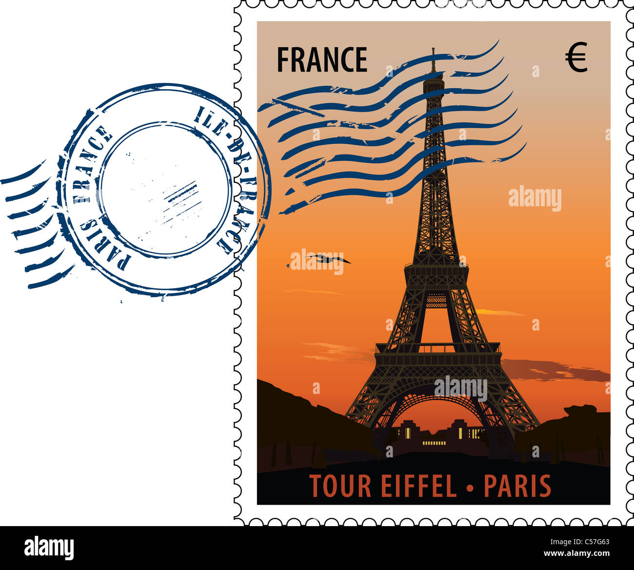 Vector postmark with sight of eiffel tower at sunset - Stock Image
