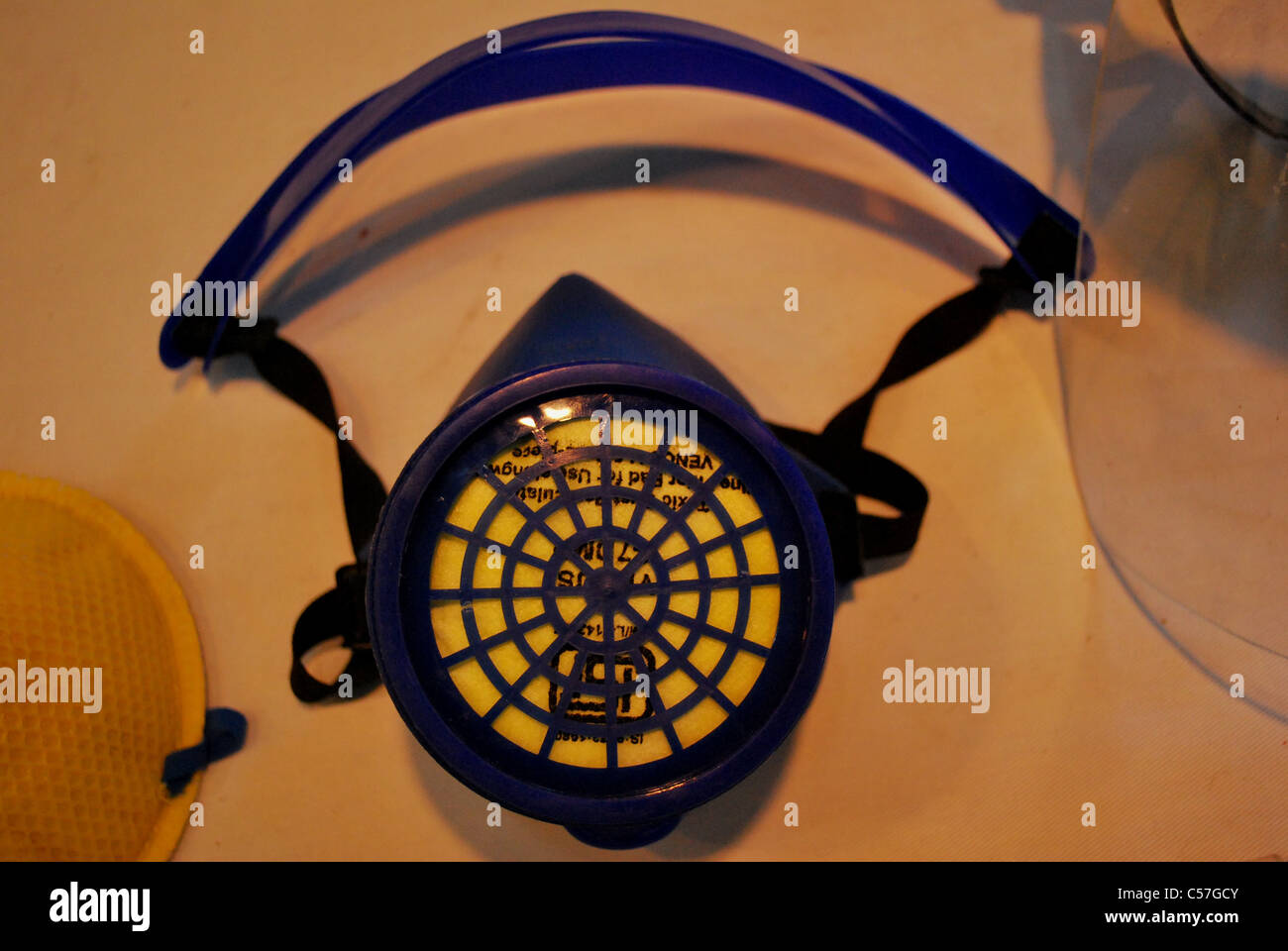 dust respirator close-up - Stock Image