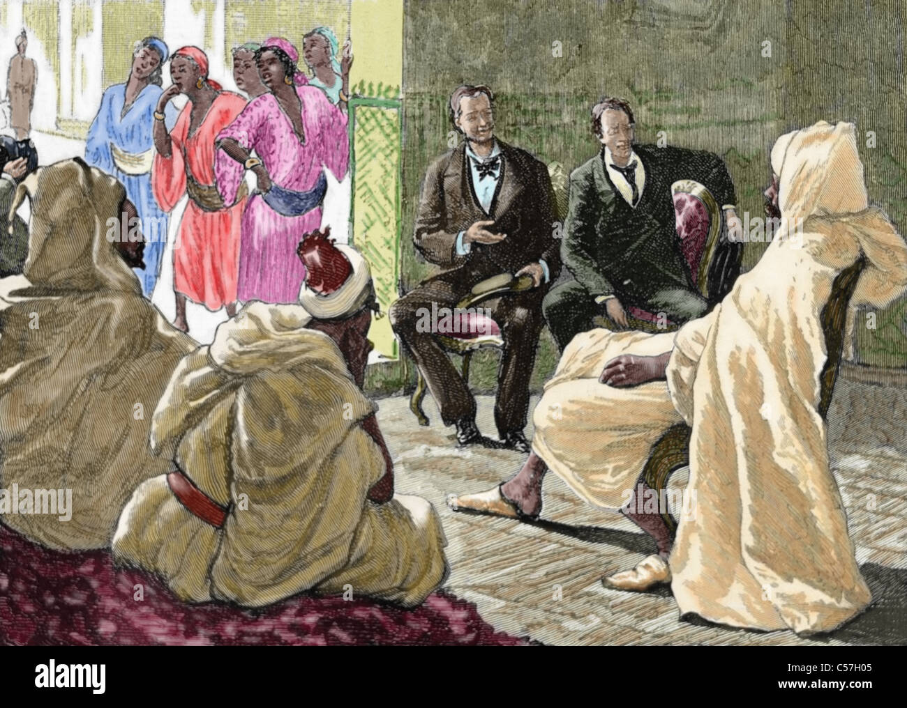 Colonialism. Morocco. Reception of the Grand Vizier to a French diplomat committee. - Stock Image